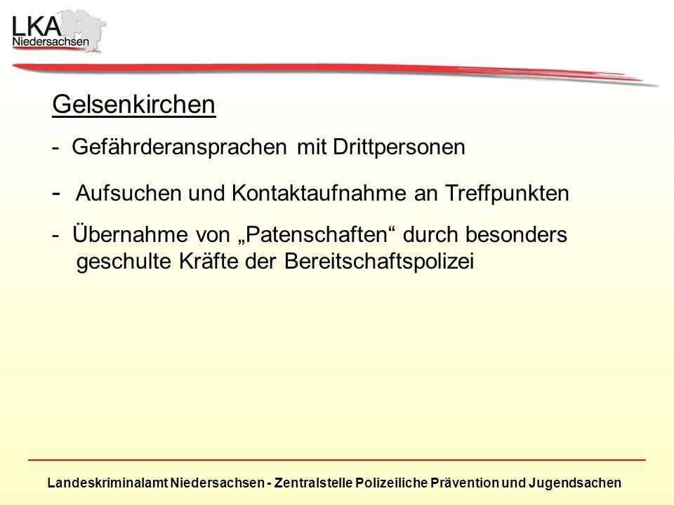 Landeskriminalamt Niedersachsen - Zentralstelle Polizeiliche Prävention und Jugendsachen Gelsenkirchen - Gefährderansprachen mit Drittpersonen - Aufsuchen und Kontaktaufnahme an Treffpunkten - Übernahme von Patenschaften durch besonders geschulte Kräfte der Bereitschaftspolizei