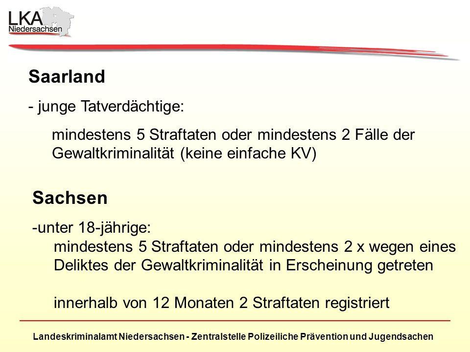 Landeskriminalamt Niedersachsen - Zentralstelle Polizeiliche Prävention und Jugendsachen Saarland - junge Tatverdächtige: mindestens 5 Straftaten oder
