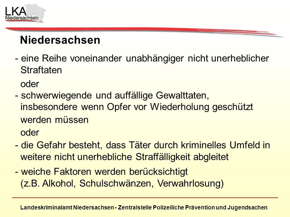 Landeskriminalamt Niedersachsen - Zentralstelle Polizeiliche Prävention und Jugendsachen Niedersachsen - eine Reihe voneinander unabhängiger nicht unerheblicher Straftaten oder - schwerwiegende und auffällige Gewalttaten, insbesondere wenn Opfer vor Wiederholung geschützt werden müssen oder - die Gefahr besteht, dass Täter durch kriminelles Umfeld in weitere nicht unerhebliche Straffälligkeit abgleitet - weiche Faktoren werden berücksichtigt (z.B.