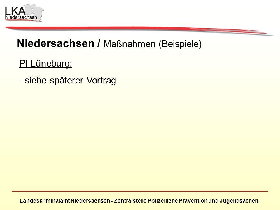 Landeskriminalamt Niedersachsen - Zentralstelle Polizeiliche Prävention und Jugendsachen Niedersachsen / Maßnahmen (Beispiele) PI Lüneburg: - siehe späterer Vortrag