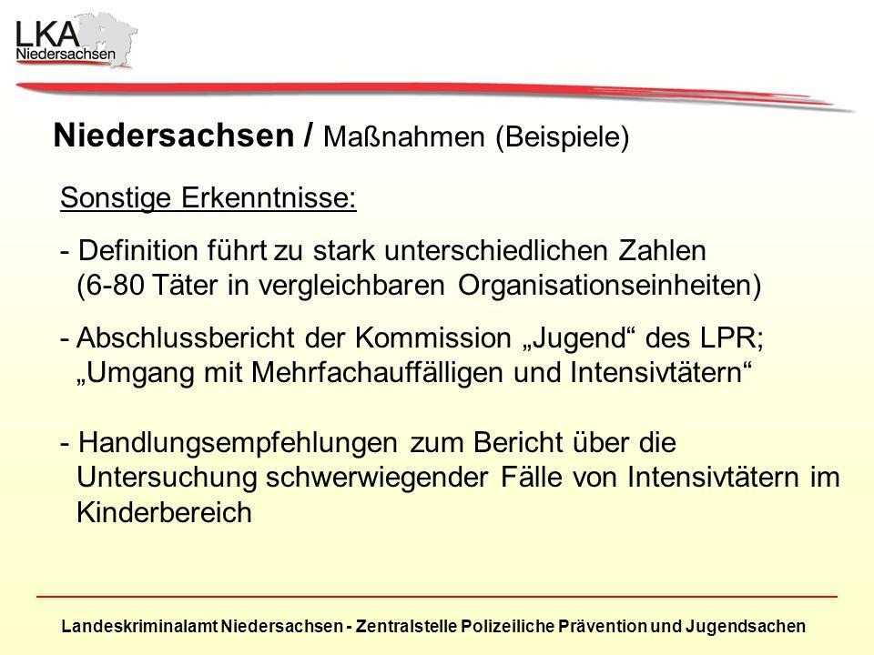Landeskriminalamt Niedersachsen - Zentralstelle Polizeiliche Prävention und Jugendsachen Niedersachsen / Maßnahmen (Beispiele) Sonstige Erkenntnisse: