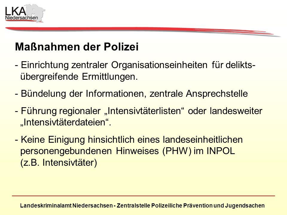 Landeskriminalamt Niedersachsen - Zentralstelle Polizeiliche Prävention und Jugendsachen Maßnahmen der Polizei - Einrichtung zentraler Organisationseinheiten für delikts- übergreifende Ermittlungen.