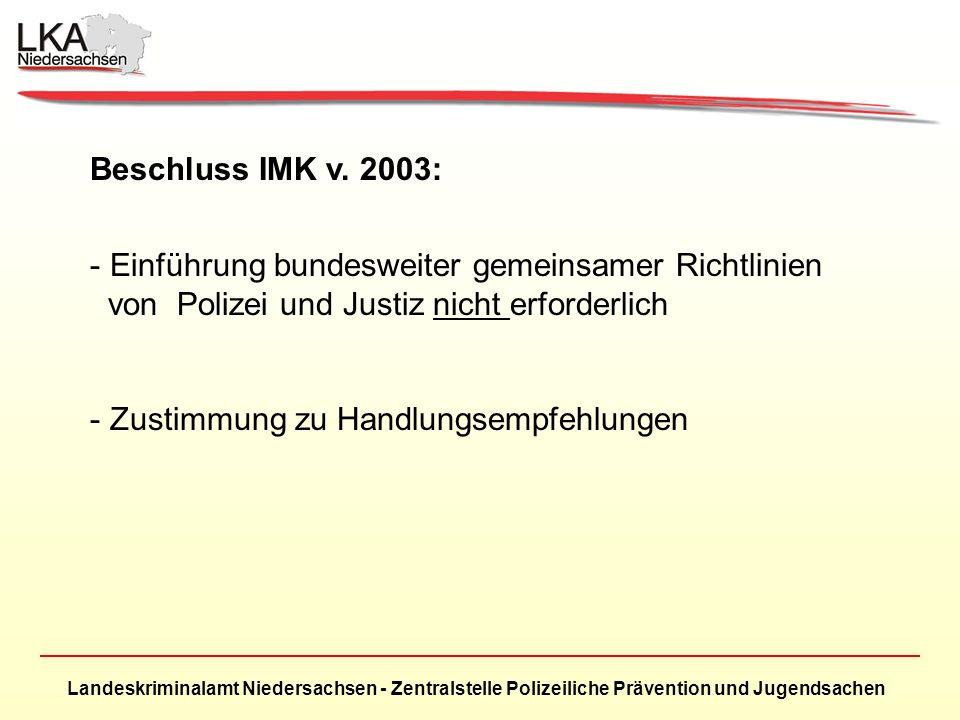 Landeskriminalamt Niedersachsen - Zentralstelle Polizeiliche Prävention und Jugendsachen Beschluss IMK v. 2003: - Einführung bundesweiter gemeinsamer