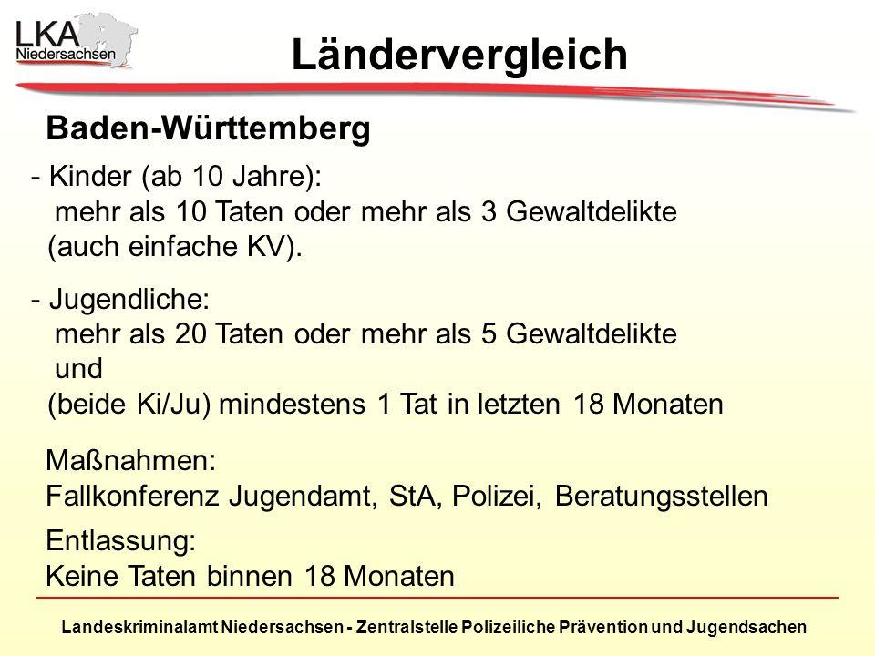 Landeskriminalamt Niedersachsen - Zentralstelle Polizeiliche Prävention und Jugendsachen Baden-Württemberg - Kinder (ab 10 Jahre): mehr als 10 Taten oder mehr als 3 Gewaltdelikte (auch einfache KV).