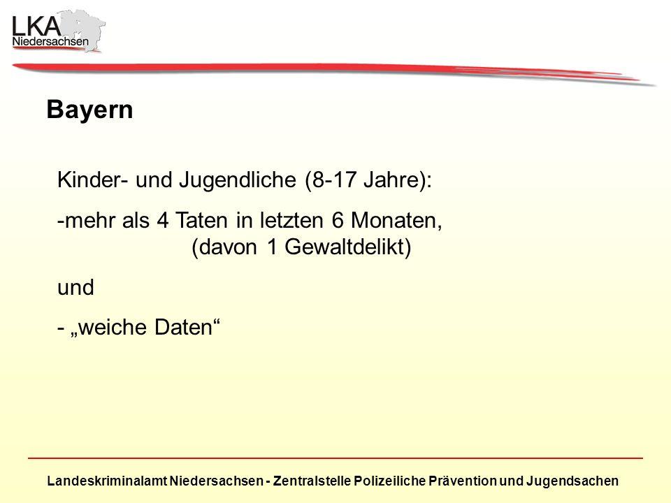 Landeskriminalamt Niedersachsen - Zentralstelle Polizeiliche Prävention und Jugendsachen Bayern Kinder- und Jugendliche (8-17 Jahre): -mehr als 4 Taten in letzten 6 Monaten, (davon 1 Gewaltdelikt) und - weiche Daten