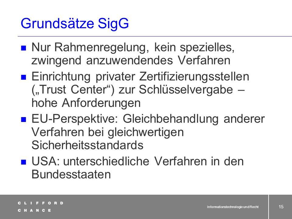 Informationstechnologie und Recht 13 Signaturgesetz (SigG)