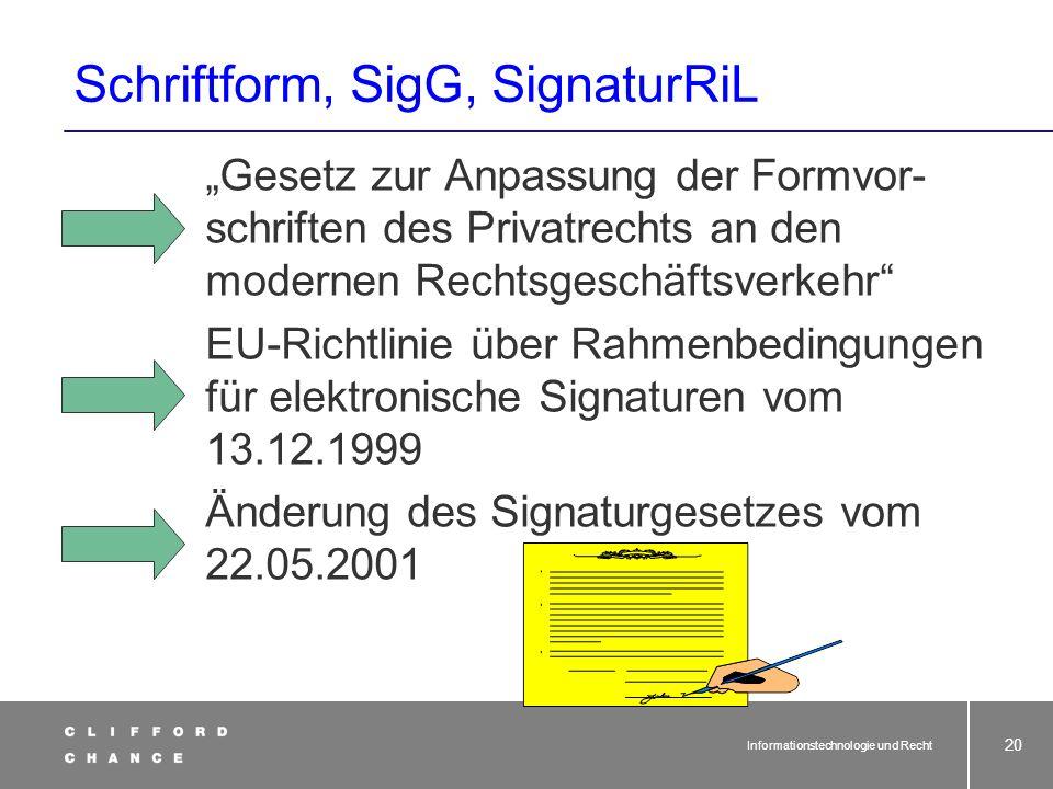 Informationstechnologie und Recht 18 Schriftform im Netz Elektronische Unterschrift KEINE Unterschrift i.S.v. § 126 BGB!