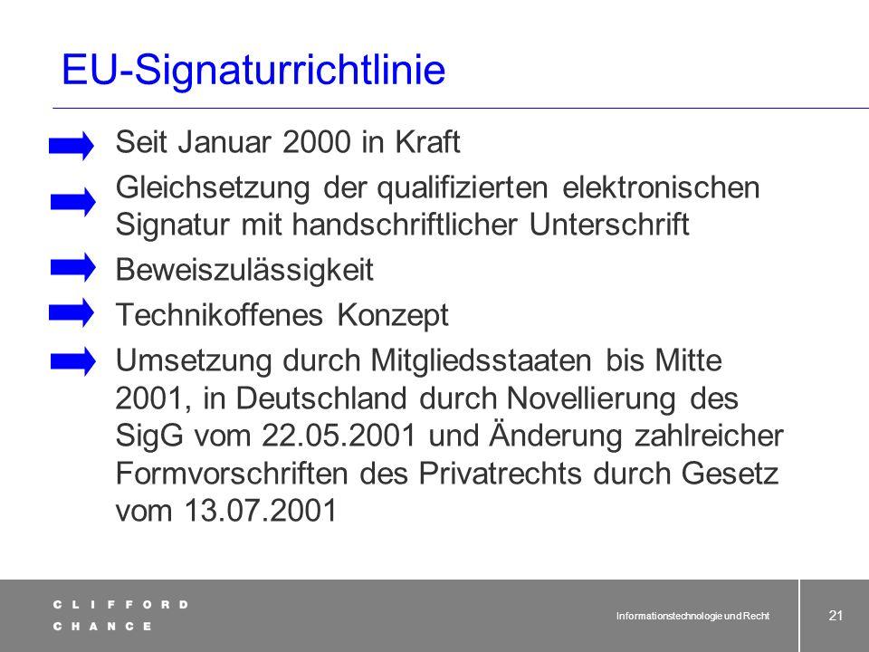 Informationstechnologie und Recht 19 Schriftform, SigG, SignaturRiL SchriftlichkeitSchriftform Schutz vor Übereilung Dokumentation Beweiszweck Schrift