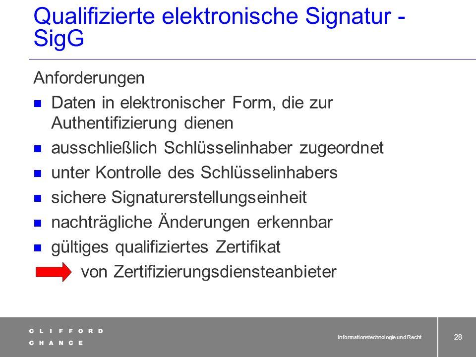 Informationstechnologie und Recht 26 Änderungen der Formvorschriften durch Gesetz vom 13.07.2001 Achtung: Sonderregeln für Verträge!! Verträge, für di