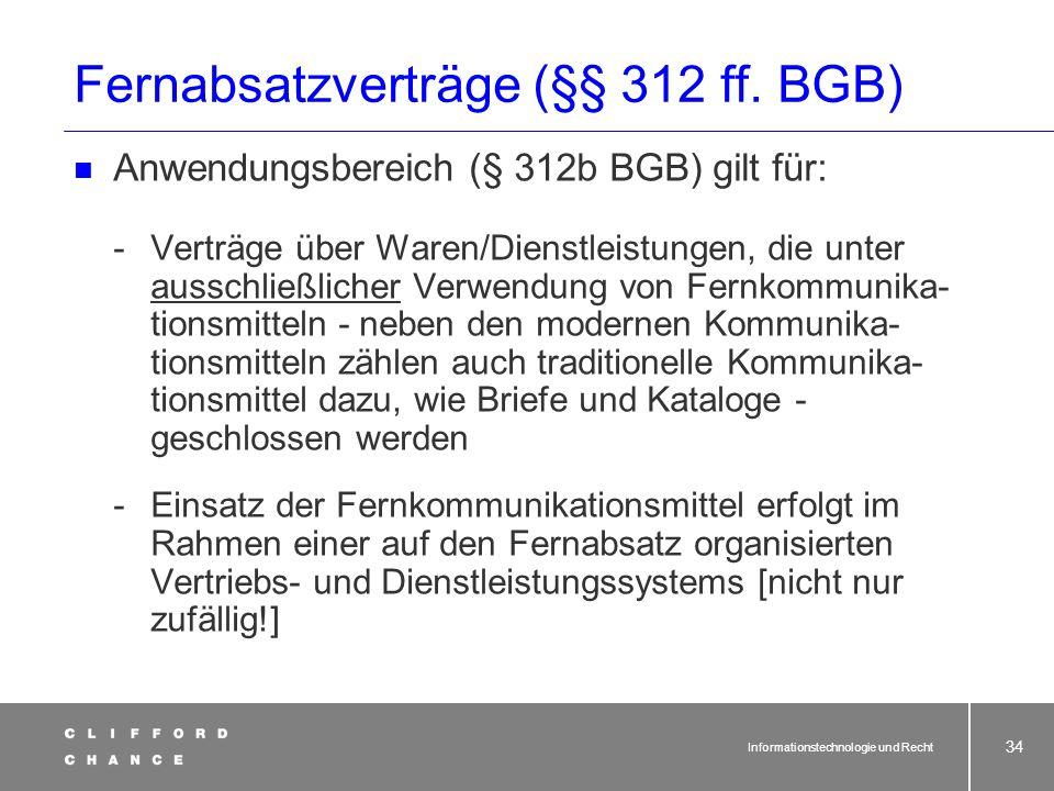 Informationstechnologie und Recht 32 Online-Verträge und AGB-Recht Problem Einbeziehung in Vertrag - Hyperlink auf Website, z.B. zum Download -gut sic
