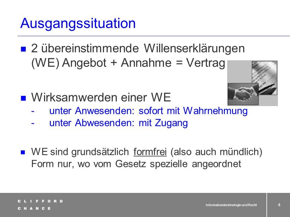Informationstechnologie und Recht 53 Ausnahme EU: Herkunftslandprinzip § 3 TMG: Herkunftslandprinzip (1)In der Bundesrepublik Deutschland niedergelassene Diensteanbieter und ihre Telemedien unterliegen den Anforderungen des deutschen Rechts auch dann, wenn die Telemedien in einem anderen Staat innerhalb des Geltungsbereichs der Richtlinie 2000/31/EG […] geschäftsmäßig angeboten oder erbracht werden.
