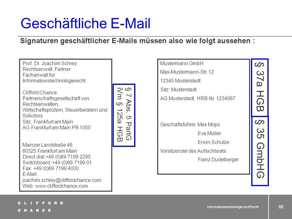 Informationstechnologie und Recht 58 E-Mail-Werbung - § 7 Abs. 3 UWG e (3)Abweichend von Abs. 2 Nr. 3 ist eine unzumutbare Belästigung bei einer Werbu