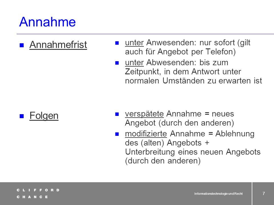 Informationstechnologie und Recht 26 Änderungen der Formvorschriften durch Gesetz vom 13.07.2001 Achtung: Sonderregeln für Verträge!.
