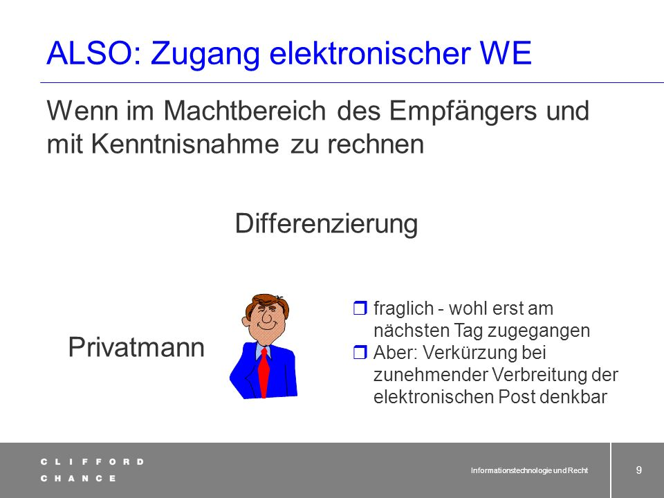 Informationstechnologie und Recht 18 Schriftform im Netz Elektronische Unterschrift KEINE Unterschrift i.S.v.