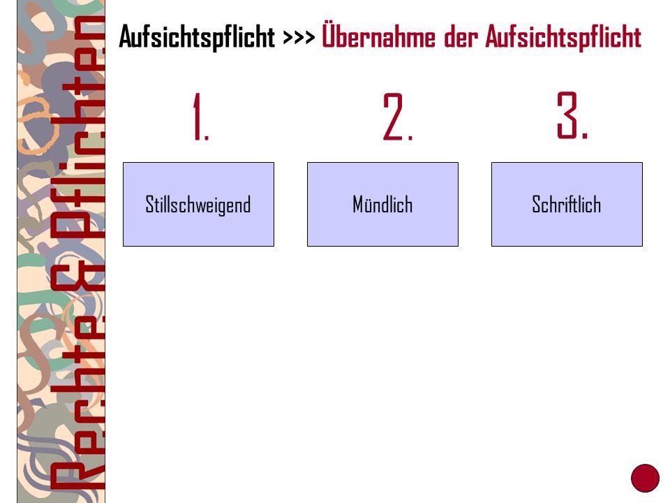Aufsichtspflicht >>> Übernahme der Aufsichtspflicht 1.1. 2.2. 3. StillschweigendMündlichSchriftlich