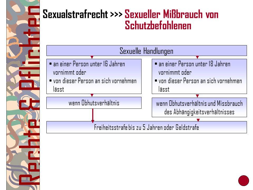 Sexualstrafrecht >>> Sexueller Mißbrauch von Sexuelle Handlungen an einer Person unter 16 Jahren vornimmt oder von dieser Person an sich vornehmen läs
