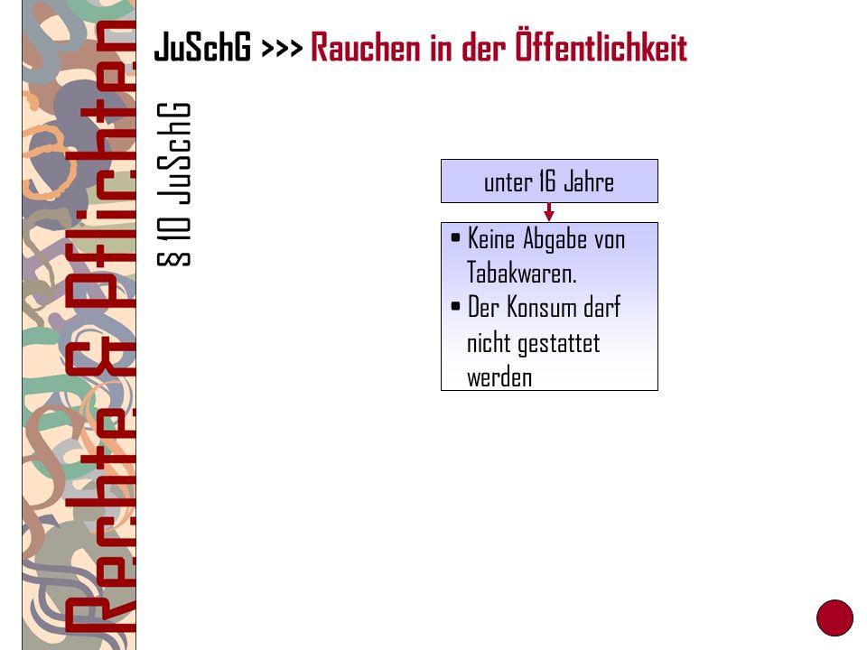JuSchG >>> Rauchen in der Öffentlichkeit § 10 JuSchG unter 16 Jahre Keine Abgabe von Tabakwaren. Der Konsum darf nicht gestattet werden