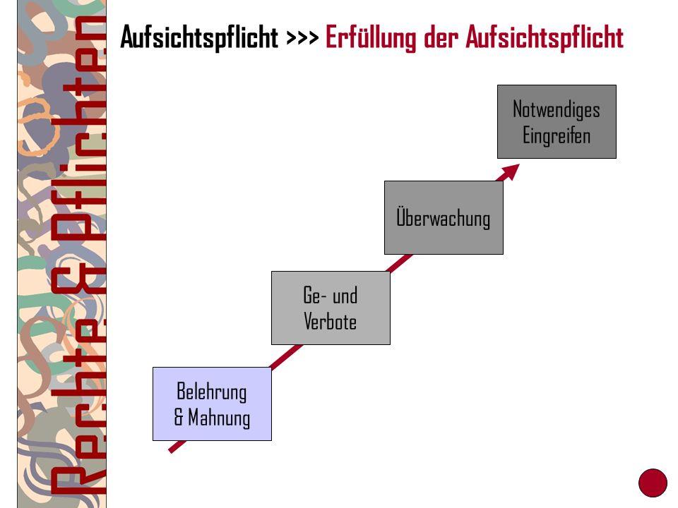 Aufsichtspflicht >>> Erfüllung der Aufsichtspflicht Belehrung & Mahnung Ge- und Verbote Überwachung Notwendiges Eingreifen