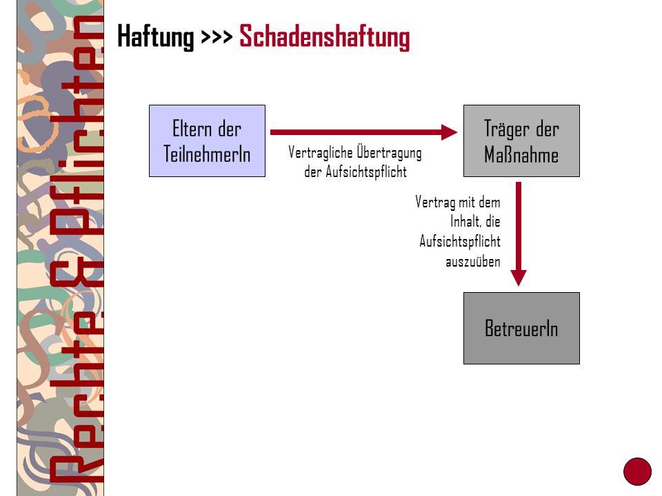 Haftung >>> Schadenshaftung Eltern der TeilnehmerIn Träger der Maßnahme BetreuerIn Vertragliche Übertragung der Aufsichtspflicht Vertrag mit dem Inhal