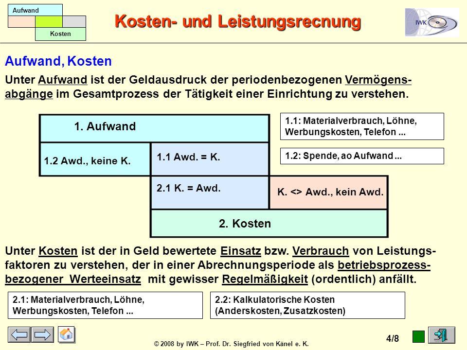 © 2008 by IWK – Prof. Dr. Siegfried von Känel e. K. Kosten- und Leistungsrecnung 3/8 Aufwand Kosten 1. Ausgaben 2. Aufwand 1.2 Ag. <> Awd. 1.1 Ag. = A