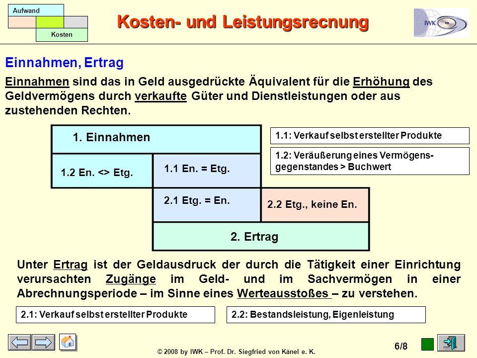 © 2008 by IWK – Prof. Dr. Siegfried von Känel e. K. Kosten- und Leistungsrecnung 5/8 Aufwand Kosten 1. Einzahlungen 2. Einnahmen 1.2 Ez., keine En. 1.