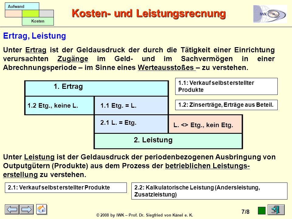 © 2008 by IWK – Prof. Dr. Siegfried von Känel e. K. Kosten- und Leistungsrecnung 6/8 Aufwand Kosten 1. Einnahmen 2. Ertrag 1.2 En. <> Etg. 1.1 En. = E