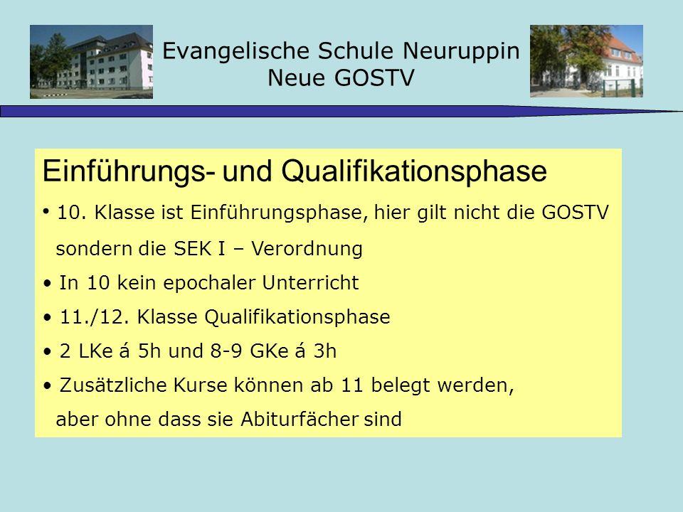 Evangelische Schule Neuruppin Neue GOSTV Einführungs- und Qualifikationsphase 10.