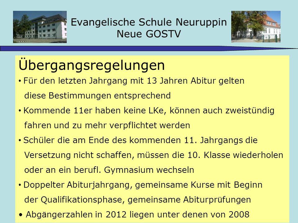 Evangelische Schule Neuruppin Neue GOSTV Stundentafel Schuljahr 2009/10 11.