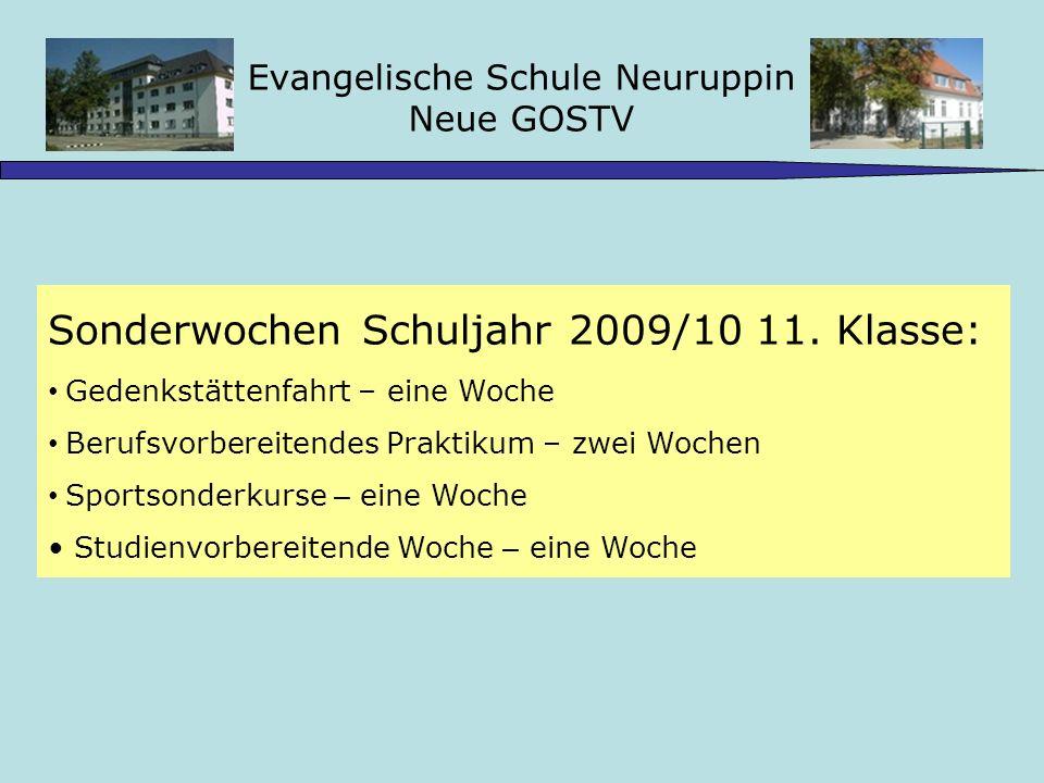 Evangelische Schule Neuruppin Neue GOSTV Sonderwochen Schuljahr 2009/10 11.