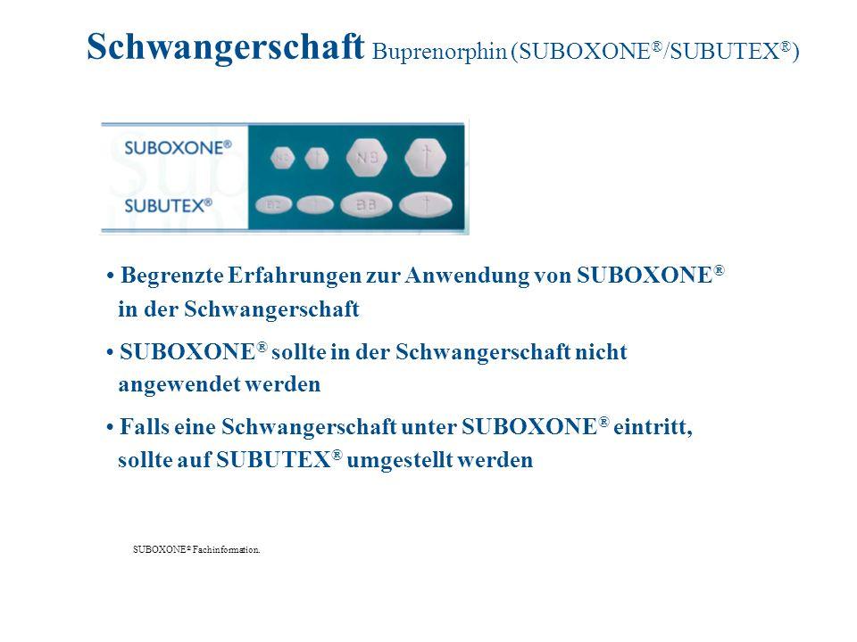 Begrenzte Erfahrungen zur Anwendung von SUBOXONE ® in der Schwangerschaft SUBOXONE ® sollte in der Schwangerschaft nicht angewendet werden Falls eine