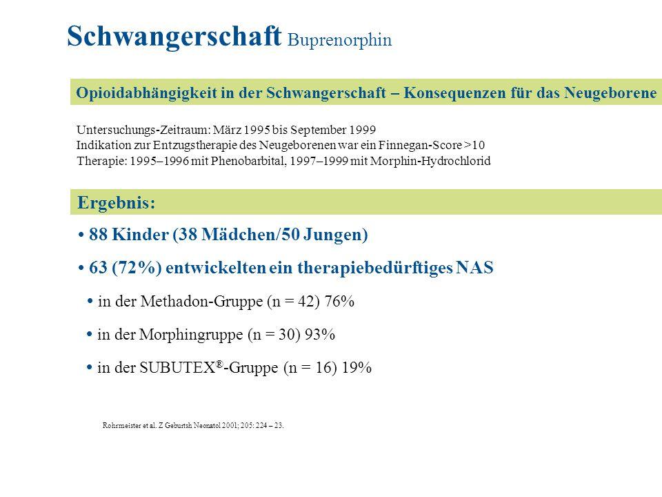Ergebnis: Untersuchungs-Zeitraum: März 1995 bis September 1999 Indikation zur Entzugstherapie des Neugeborenen war ein Finnegan-Score >10 Therapie: 19