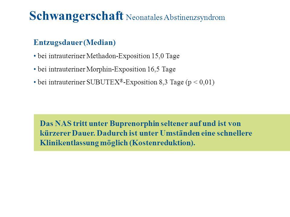 Entzugsdauer (Median) bei intrauteriner Methadon-Exposition 15,0 Tage bei intrauteriner Morphin-Exposition 16,5 Tage bei intrauteriner SUBUTEX ® -Expo