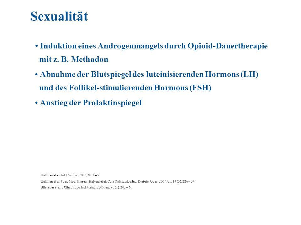Induktion eines Androgenmangels durch Opioid-Dauertherapie mit z. B. Methadon Abnahme der Blutspiegel des luteinisierenden Hormons (LH) und des Follik