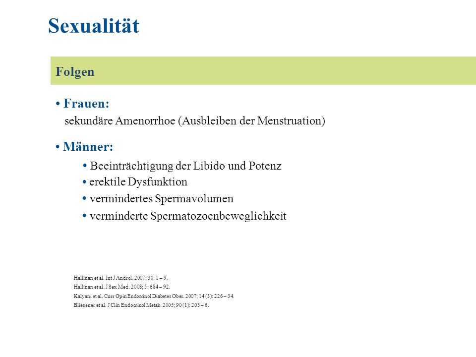 Hallinan et al. Int J Androl. 2007; 30: 1 – 9. Hallinan et al. J Sex Med. 2008; 5: 684 – 92. Kalyani et al. Curr Opin Endocrinol Diabetes Obes. 2007;