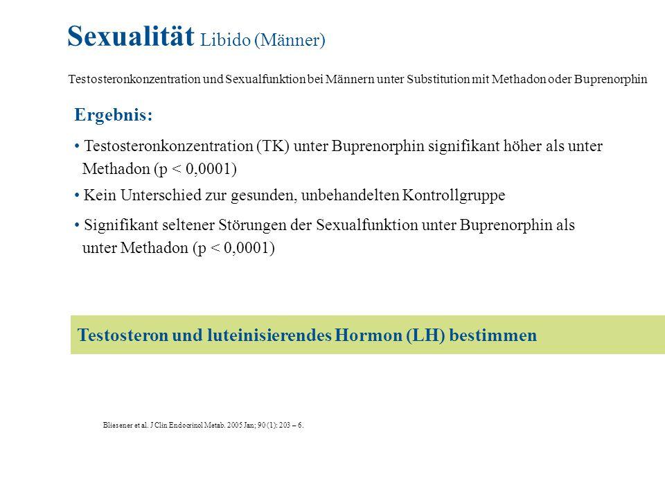 Sexualität Libido (Männer) Testosteronkonzentration und Sexualfunktion bei Männern unter Substitution mit Methadon oder Buprenorphin Bliesener et al.