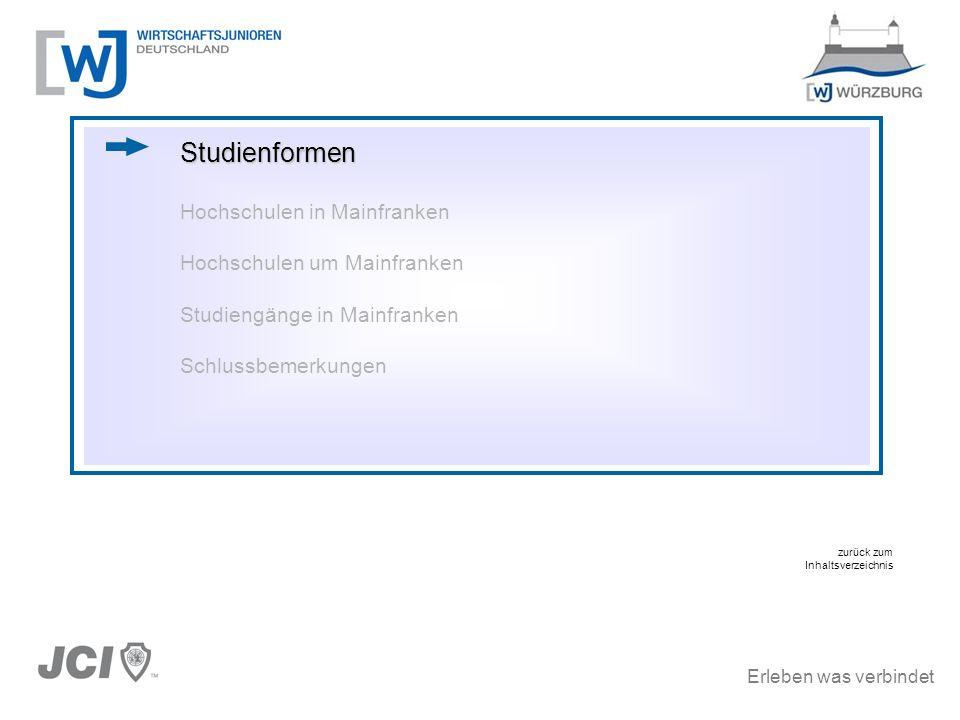 Erleben was verbindet Studiengänge in Mainfranken Hochschule für angewandte Wissenschaften, Fachhochschule Würzburg-Schweinfurt (2/6) Diplom-Studiengänge Elektrotechnik Ingenieurinformatik Kunststoff- und Elastomertechnik Maschinenbau Wirtschaftsingenieurwesen
