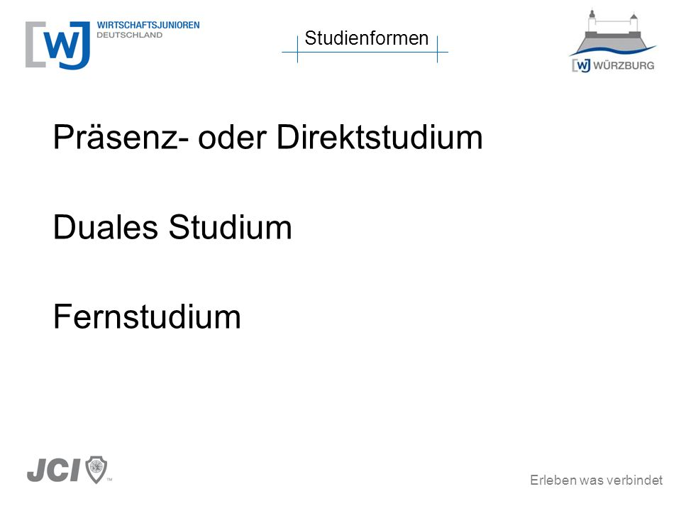 Erleben was verbindet Studienformen Hochschulen in Mainfranken Hochschulen um Mainfranken Studiengänge in MainfrankenSchlussbemerkungen zurück zum Inhaltsverzeichnis