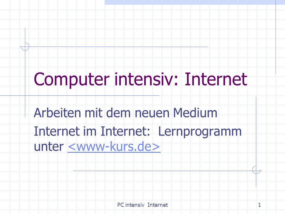 PC intensiv Internet1 Computer intensiv: Internet Arbeiten mit dem neuen Medium Internet im Internet: Lernprogramm unter
