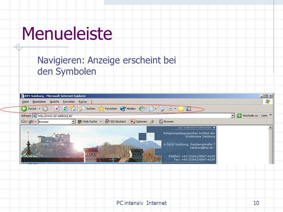 PC intensiv Internet10 Menueleiste Navigieren: Anzeige erscheint bei den Symbolen