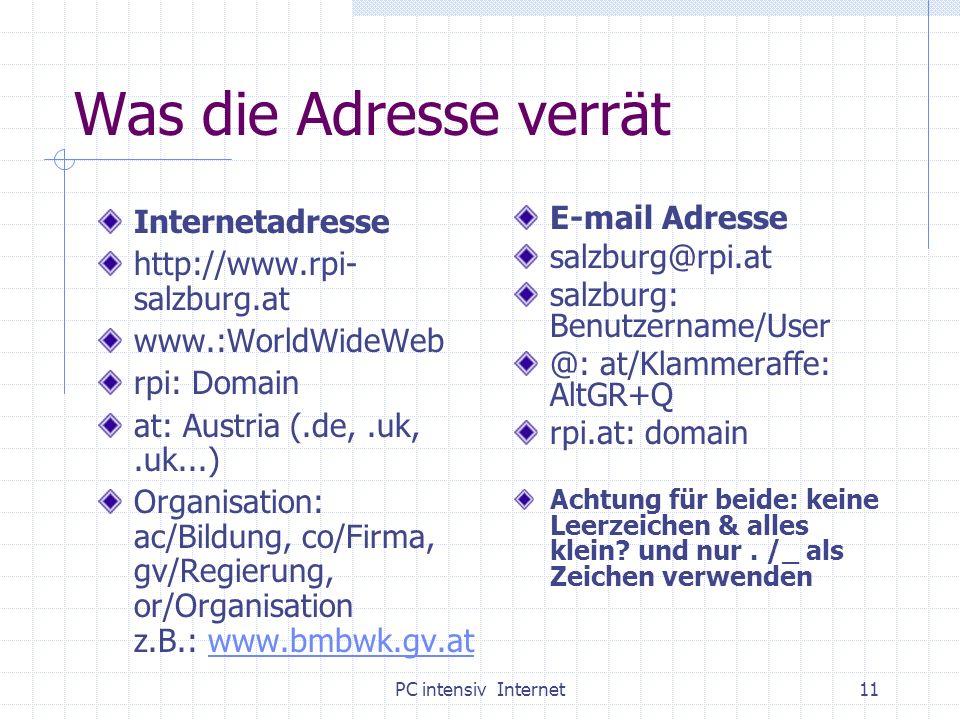 PC intensiv Internet11 Was die Adresse verrät Internetadresse http://www.rpi- salzburg.at www.:WorldWideWeb rpi: Domain at: Austria (.de,.uk,.uk...) O