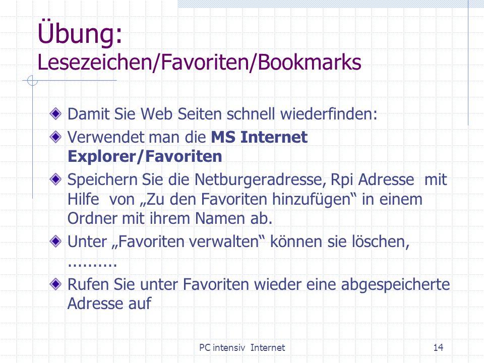 PC intensiv Internet14 Übung: Lesezeichen/Favoriten/Bookmarks Damit Sie Web Seiten schnell wiederfinden: Verwendet man die MS Internet Explorer/Favori