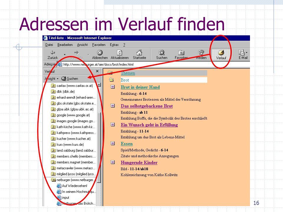 PC intensiv Internet16 Adressen im Verlauf finden