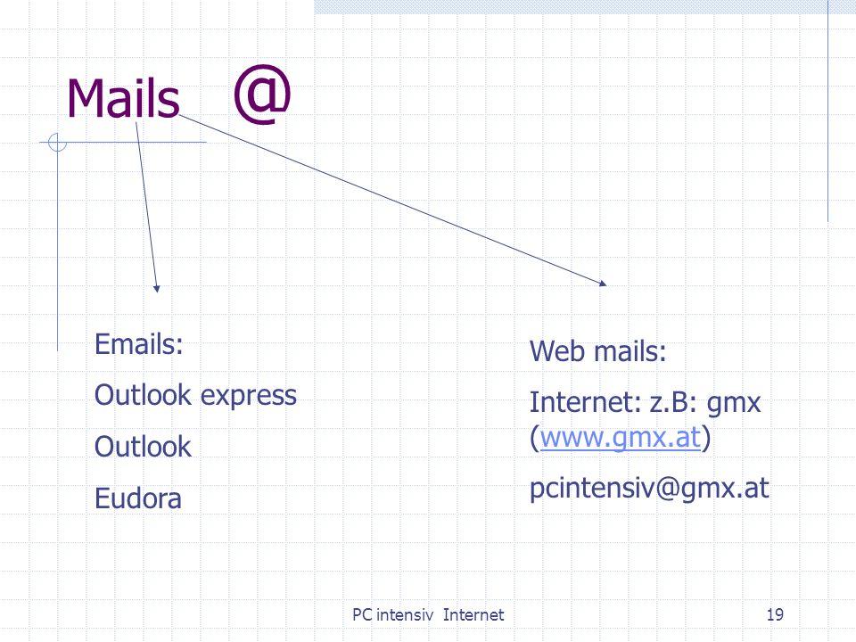 PC intensiv Internet19 Mails @ Emails: Outlook express Outlook Eudora Web mails: Internet: z.B: gmx (www.gmx.at)www.gmx.at pcintensiv@gmx.at