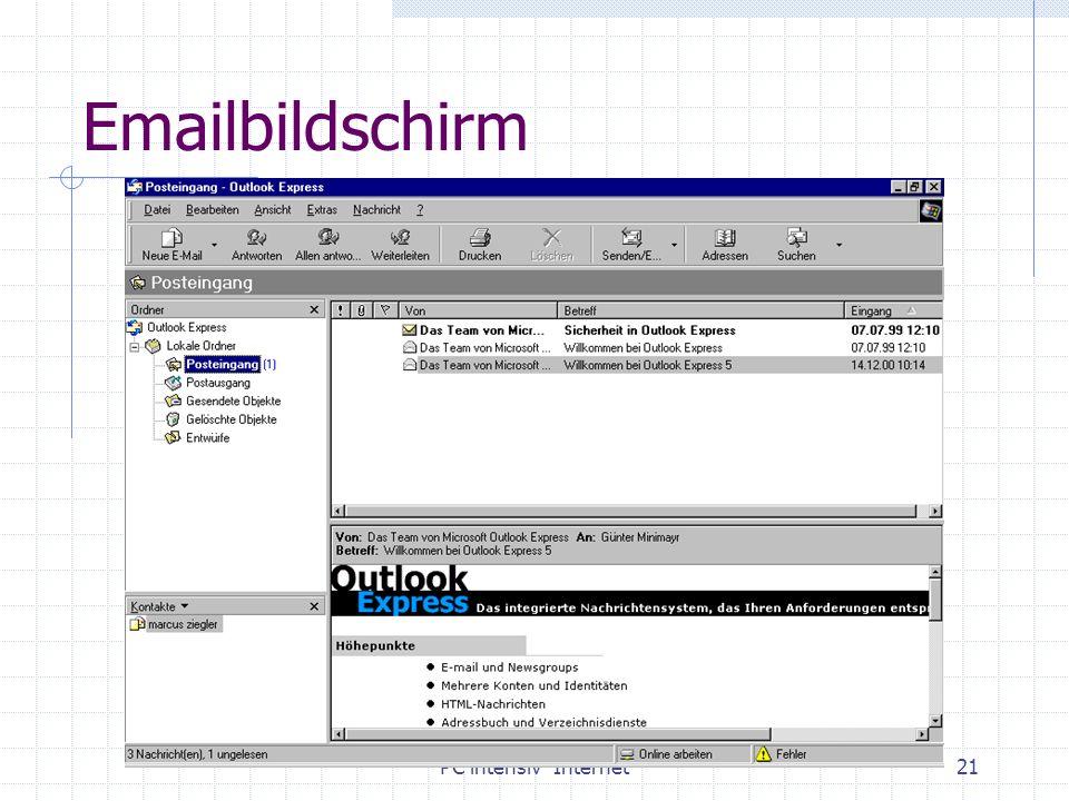 PC intensiv Internet21 Emailbildschirm