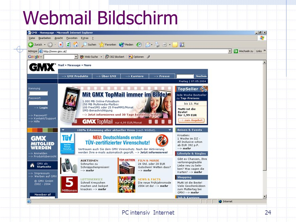 PC intensiv Internet24 Webmail Bildschirm