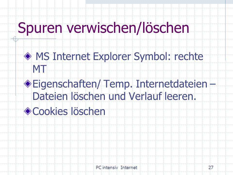 PC intensiv Internet27 Spuren verwischen/löschen MS Internet Explorer Symbol: rechte MT Eigenschaften/ Temp. Internetdateien – Dateien löschen und Ver