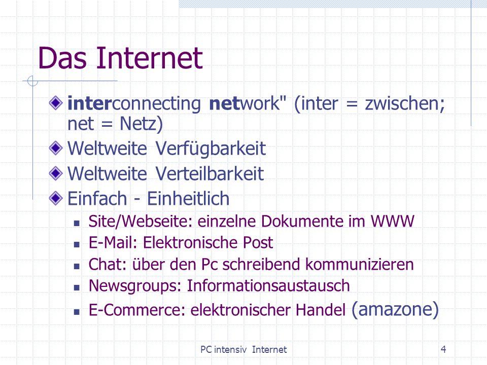 PC intensiv Internet15 Übung: Wer suchet, der findet hoffentlich www-kurs.dewww-kurs.de: suchen&finden – lesen und testen Suchmaschinen: www.altavista.at www.google.at usw.