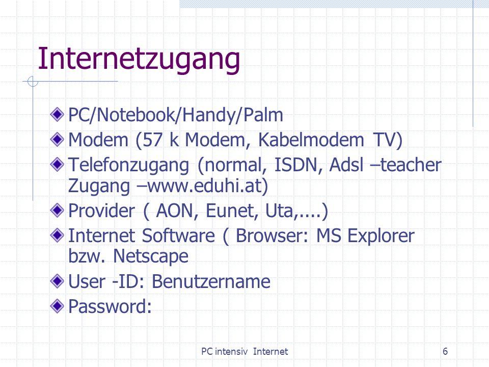 PC intensiv Internet6 Internetzugang PC/Notebook/Handy/Palm Modem (57 k Modem, Kabelmodem TV) Telefonzugang (normal, ISDN, Adsl –teacher Zugang –www.e