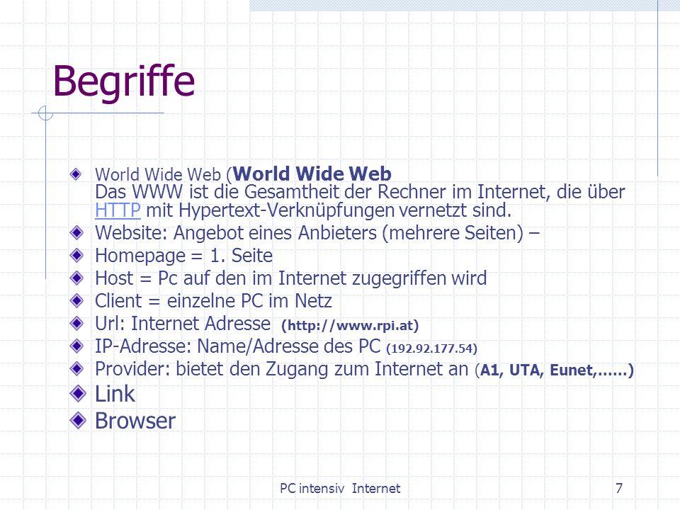 PC intensiv Internet28 Einige Adressen für den RU Internetkurs: www-kurs.de Religionsunterricht: Ausgangspunkt: www.rpi-salzburg.at/Linkdatenbank www.zum.de www.reliweb.de RU im Informatikraum www.rpi-salzburg.at