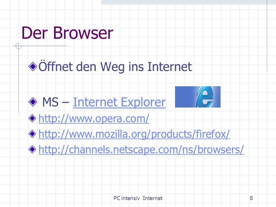 PC intensiv Internet9 Einstieg ins Netz Browser starten/ MS Internet Explorer Adresse: www.rpi-salzburg.at oder www.rpi.at www.rpi-salzburg.at